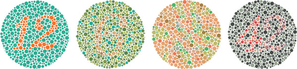 Can you see all the numbers? - Ishihara colour test plates (via Wikipedia)