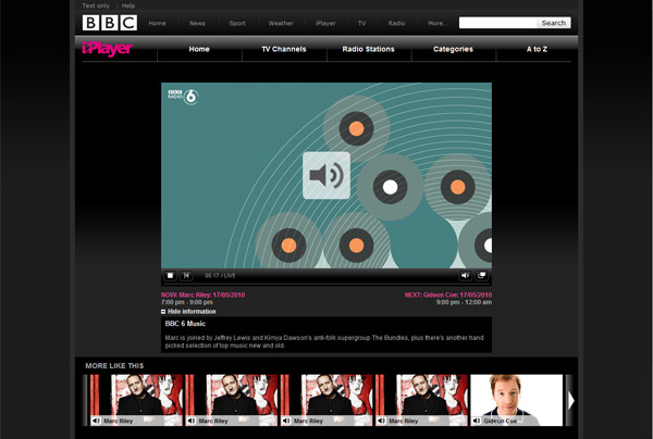Live audio stream of BBC 6 Music