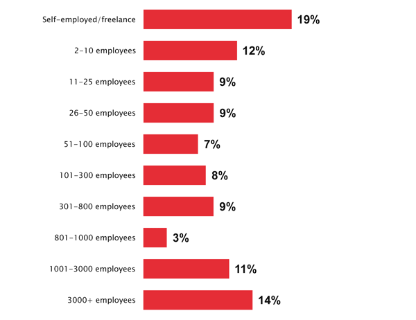 19% of respondents work in a self-employed/freelance capacity
